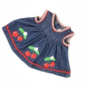 Good Lad Baby Girl Denim Top Embroidered Cherry